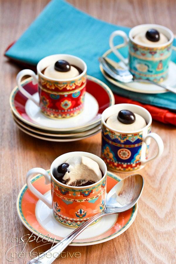 Chocolate Pots de Creme Recipe with Espresso Cream