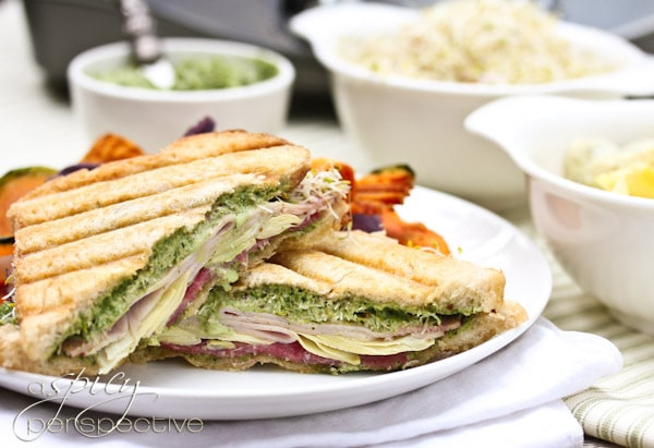 Panini Sandwich with Creamy Pesto Sauce