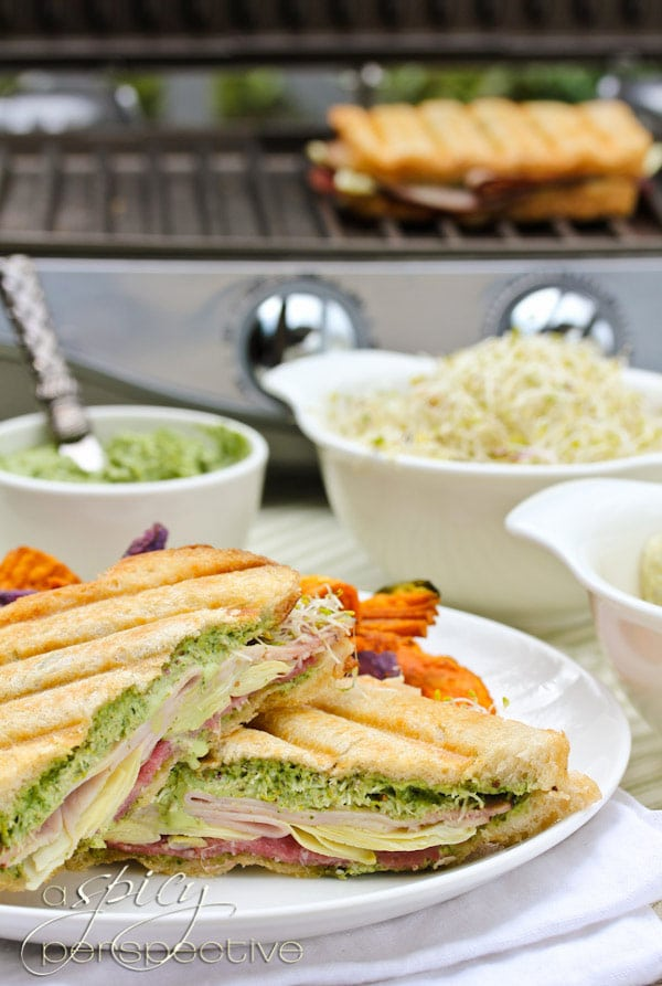 Hot Panini Sandwich with Creamy Pesto Sauce