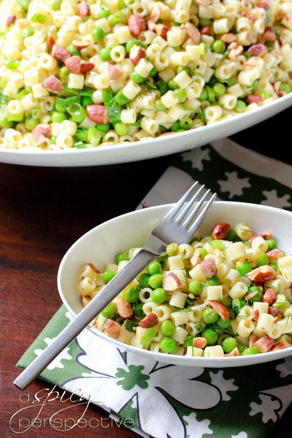 Perky Pasta with Peas Smoked Almonds and Dill