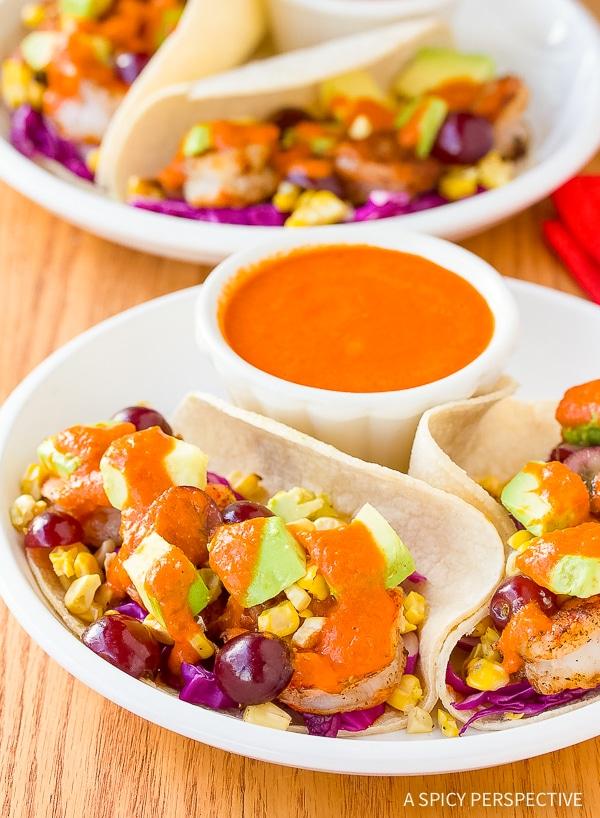 Shrimp Tacos Recipe with Ranchero Sauce