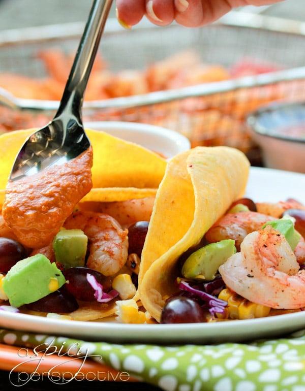 Fresh Shrimp Tacos Recipe with Ranchero Sauce