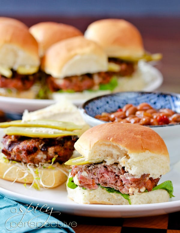 ... of the blue cheese and andouille sausage in the slider burgers