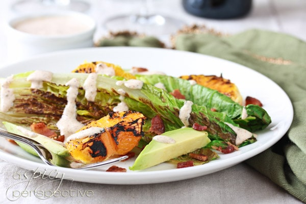 Grilled Romaine Salad with Buttermilk Dressing
