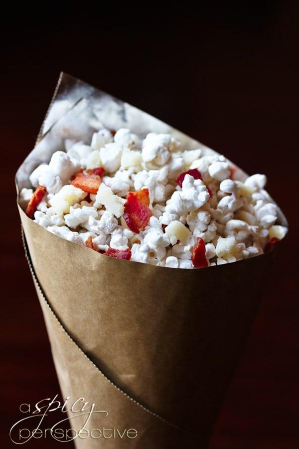 ... deliciously sinful Popcorn Recipe with Pecorino Romano and Bacon