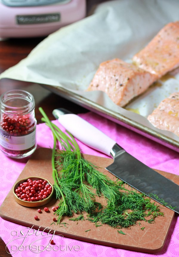 Roasted Salmon with Pink Peppercorn Sauce - A Spicy Perspective