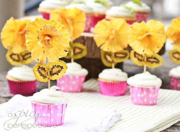 Pina Colada Cupcakes with Kiwi Frosting - A Spicy Perspective