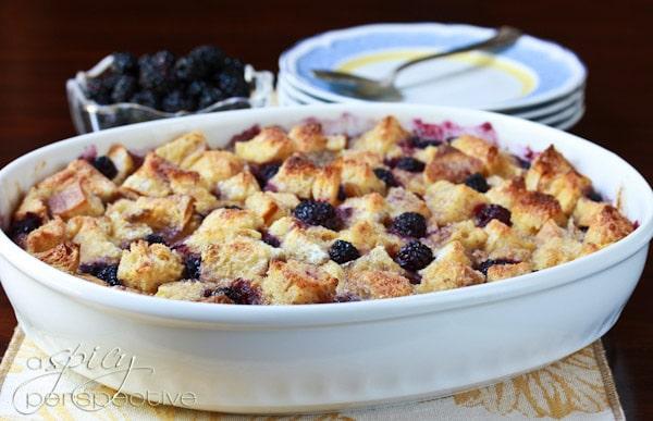 Blackberry Vanilla Bread Pudding Recipe