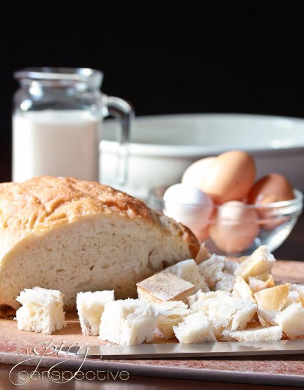 Making Blackberry Vanilla Bread Pudding Recipe