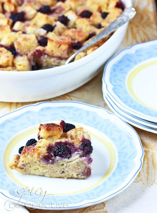 Simple Blackberry Vanilla Bread Pudding Recipe