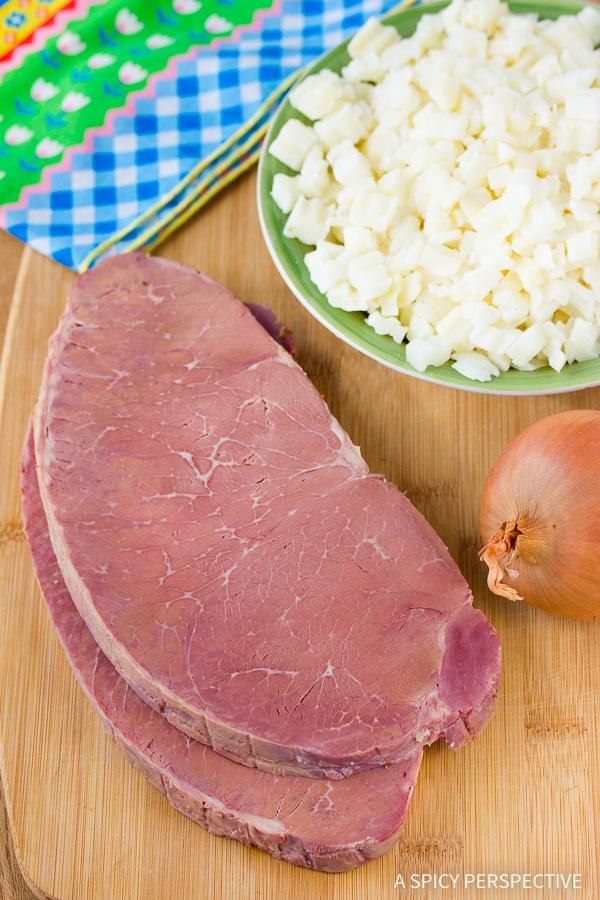 Beef and Potatoes #ASpicyPerspective #CornedBeefHash #CornedBeefHashRecipe #HorseradishCreamSauce #HorseradishSauce #HowtoMakeCornedBeefHash #FathersDay #Breakfast #FathersDayBreakfast