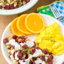 Corned Beef Hash with Creamy Horseradish Sauce Recipe