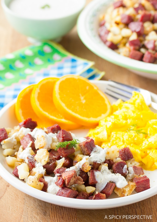 Hot Sizzling Corned Beef Hash with Creamy Horseradish Sauce Recipe