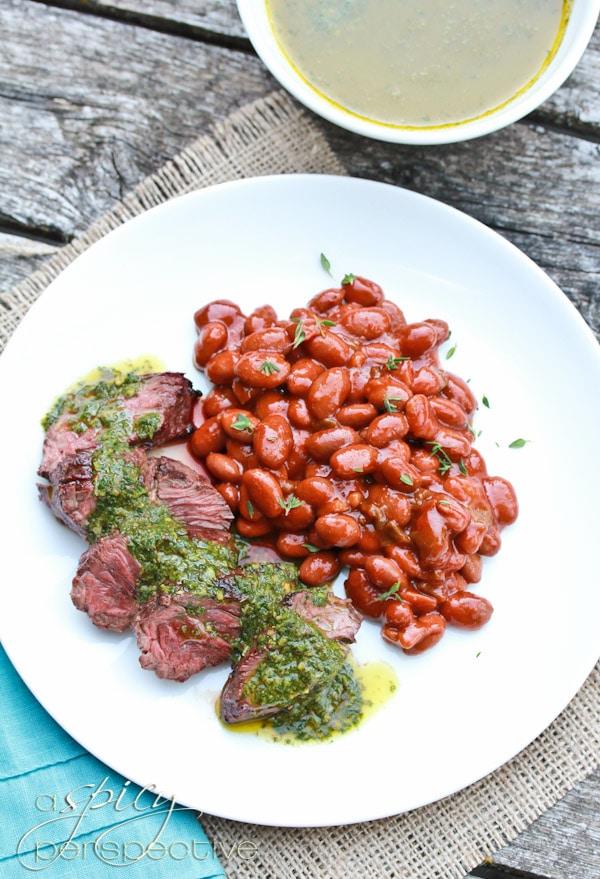 Hanger Steak with Sauce Chimichurri