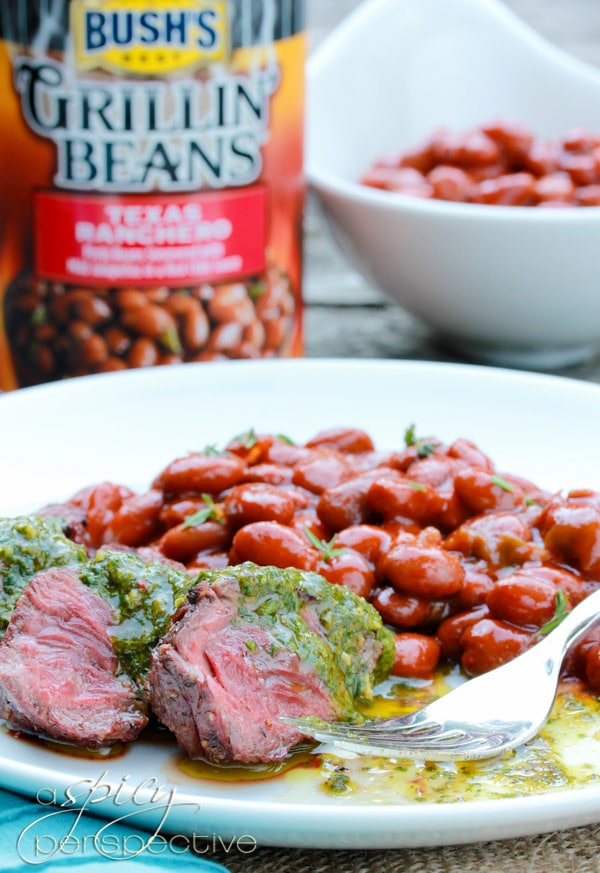 Easy Hanger Steak with Sauce Chimichurri