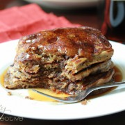 Mocha Chip Pancakes with Espresso Syrup via Aspicyperspective.com