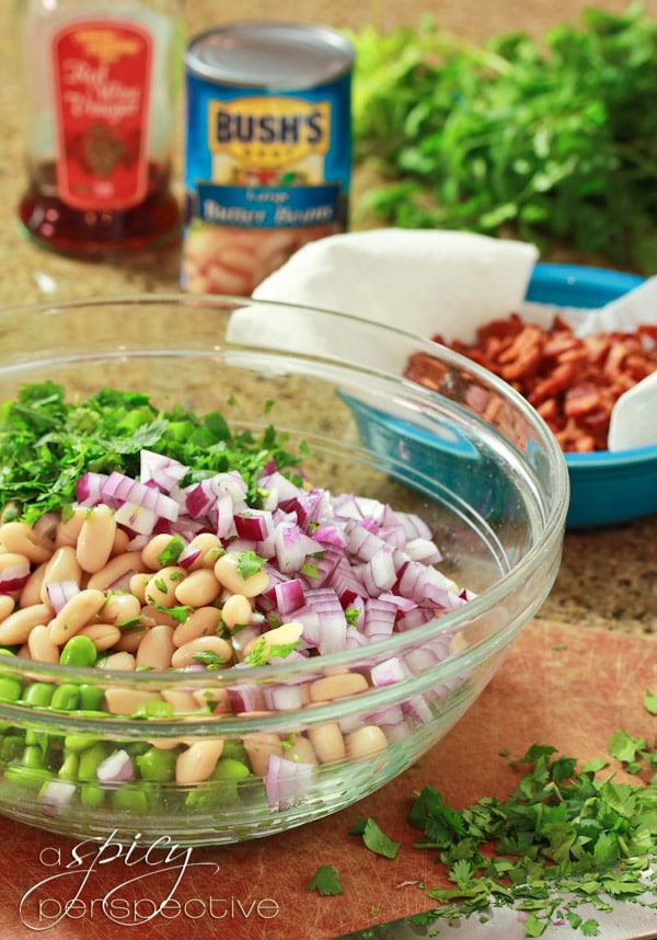 Making White Bean Edamame Salad with Bacon