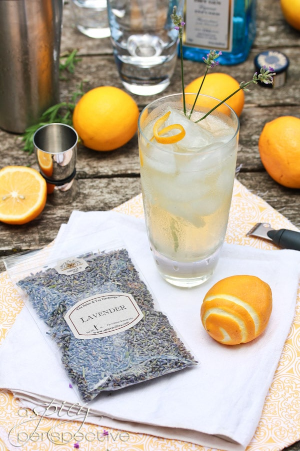 Lavender Meyer Lemon Tom Collins Cocktail