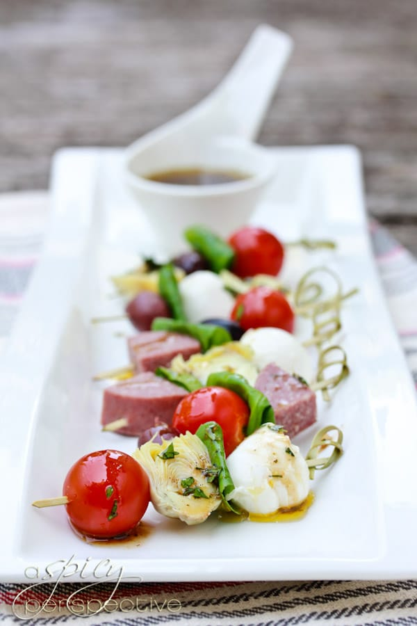Antipasto Skewers with Herb Vinaigrette - A Spicy Perspective