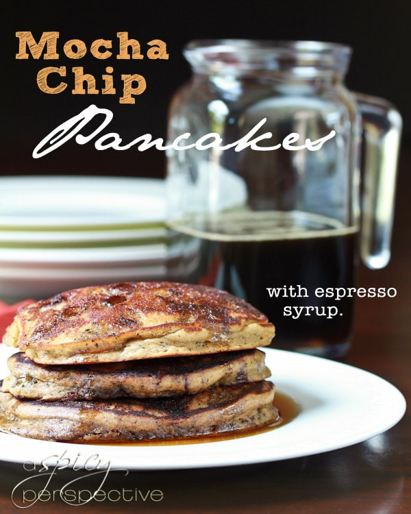 Mocha Chip Pancakes with Espresso Syrup