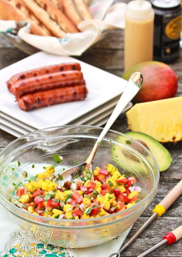 Hawaiian Style Hot Dogs with Mango Salsa and Pineapple Mustard