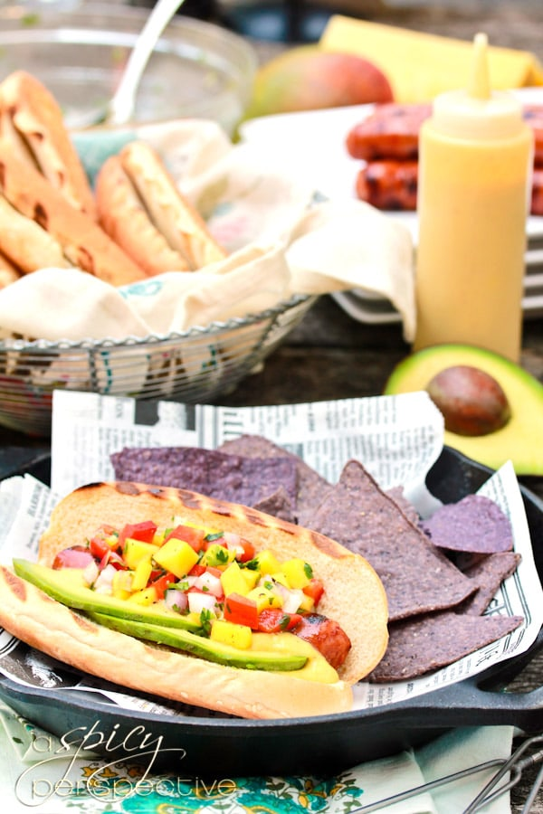 Awesome Hawaiian Hot Dogs with Mango Salsa and Pineapple Mustard