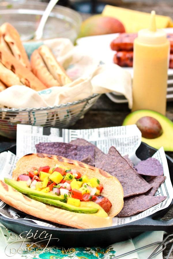 Awesome Hawaiian Hot Dogs with Mango Salsa and Pineapple Mustard