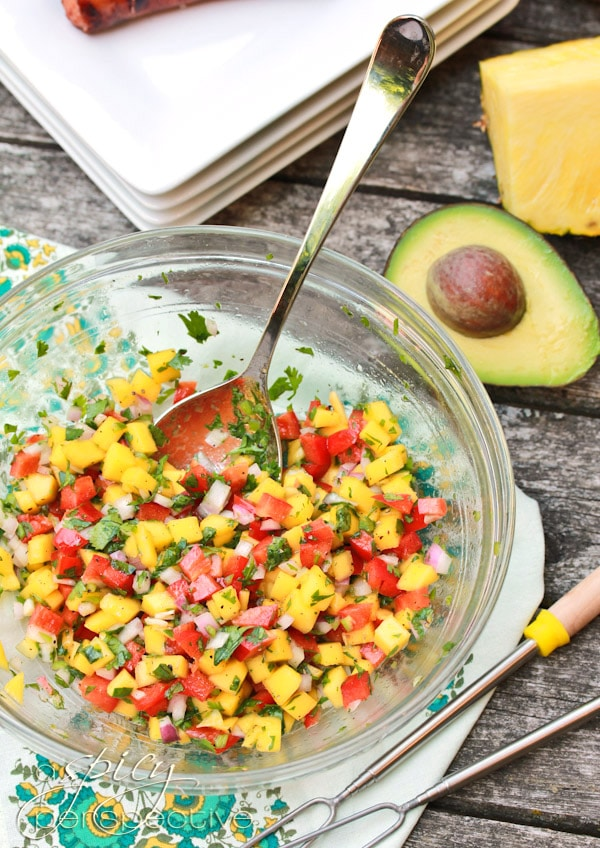 Hawaiian Hot Dogs with Mango Salsa
