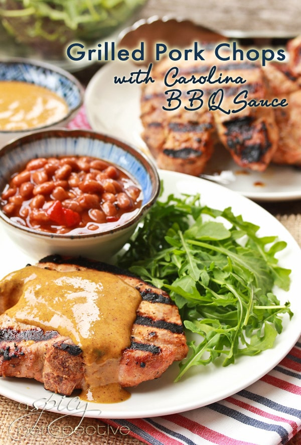 ... pork chops grilled pork chops brushed with a zesty mustard bbq sauce
