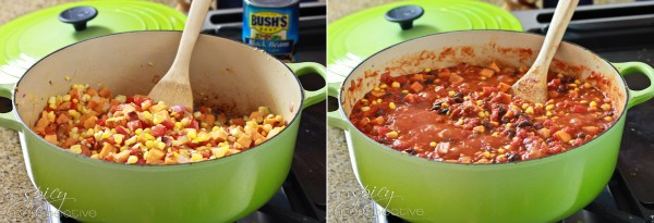 ... vegetable chili with sweet potatoes, red peppers and fresh corn