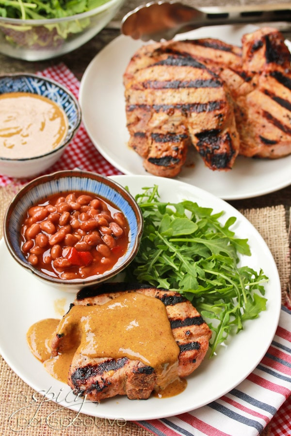 Grilled Pork Chops Brushed With A Zesty Mustard BBQ Sauce Recipes ...