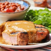 BBQ Pork Chops with Carolina BBQ Sauce ~ ASpicyPerspective.com