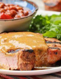BBQ Pork Chops with Carolina BBQ Sauce ~ ASpicyPerspective.com