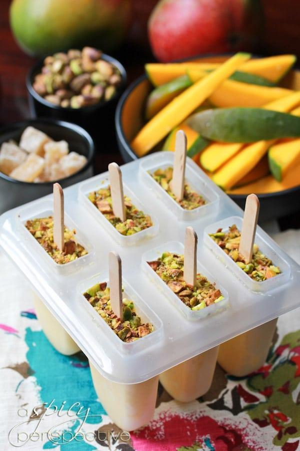 Mango Lassi Pops with Pistachios  ~ ASpicyPerspective.com