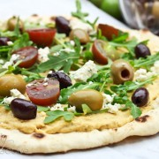 Grilled Pizza - Greek Style! via ASpicyPerspective.com