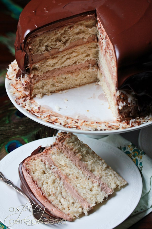Banana Coconut Cake Layered With Whipped Chocolate ...