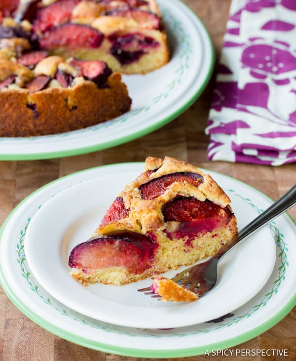 Sweet Juicy Fresh Plum Cake Recipe | ASpicyPerspective.com