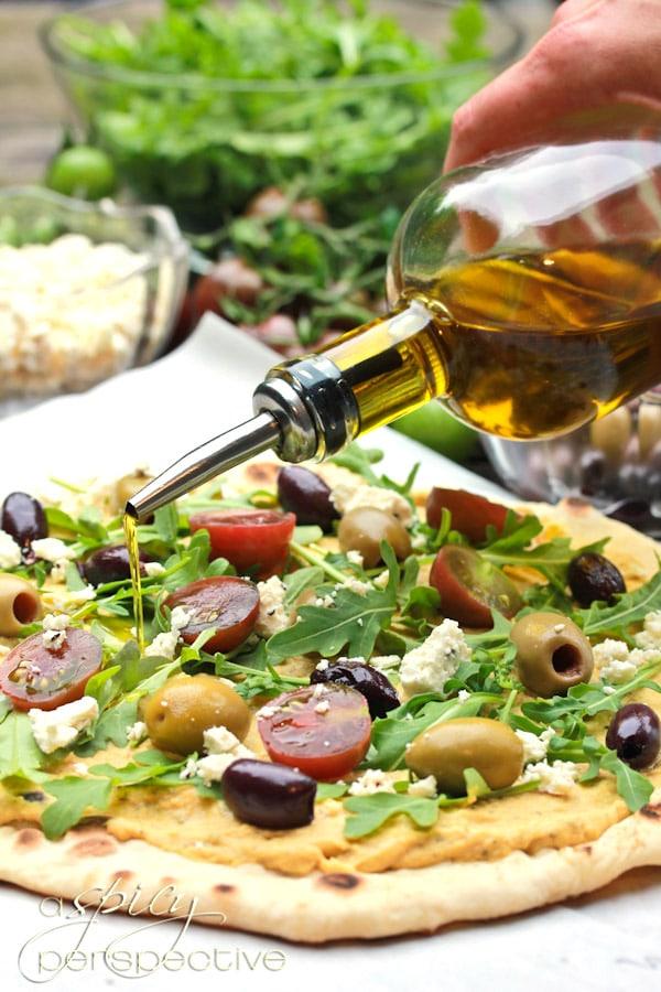 Making Grilled Greek Pizza ~ ASpicyPerspective.com