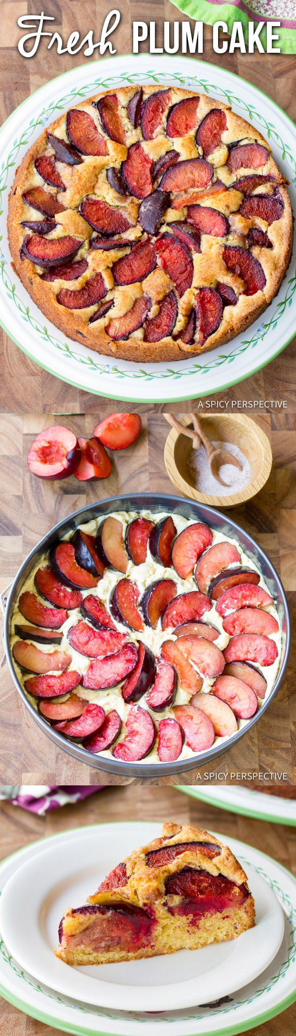 Rustic Fresh Plum Cake Recipe | ASpicyPerspective.com