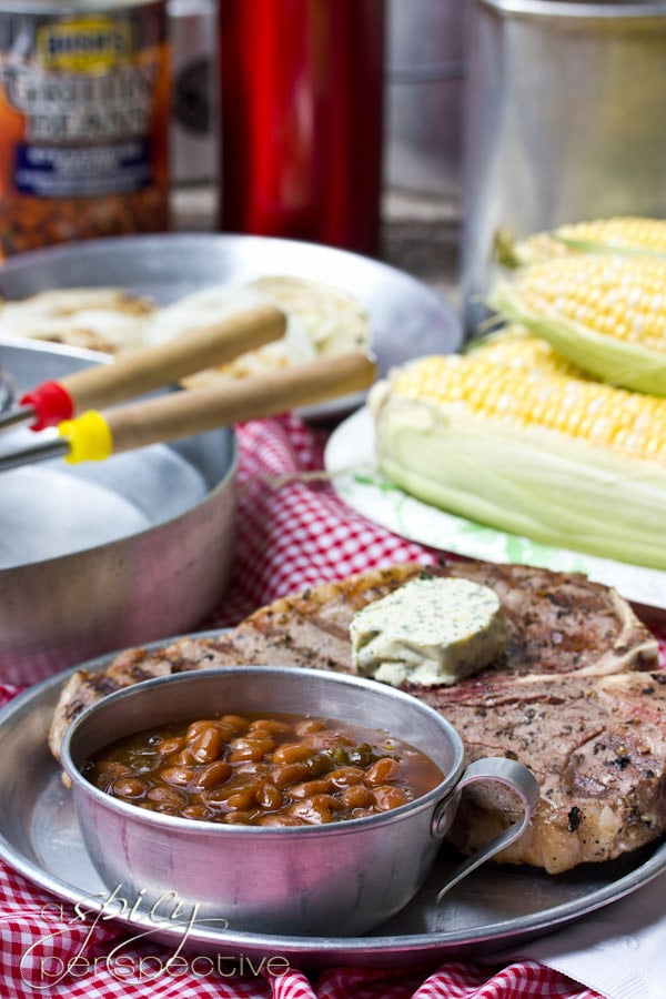 Campfire Porterhouse Steaks with Compound Butter | ASpicyPerspective.com