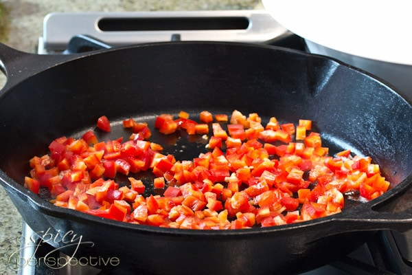 Searing Red Peppers | ASpicyPerspective.com