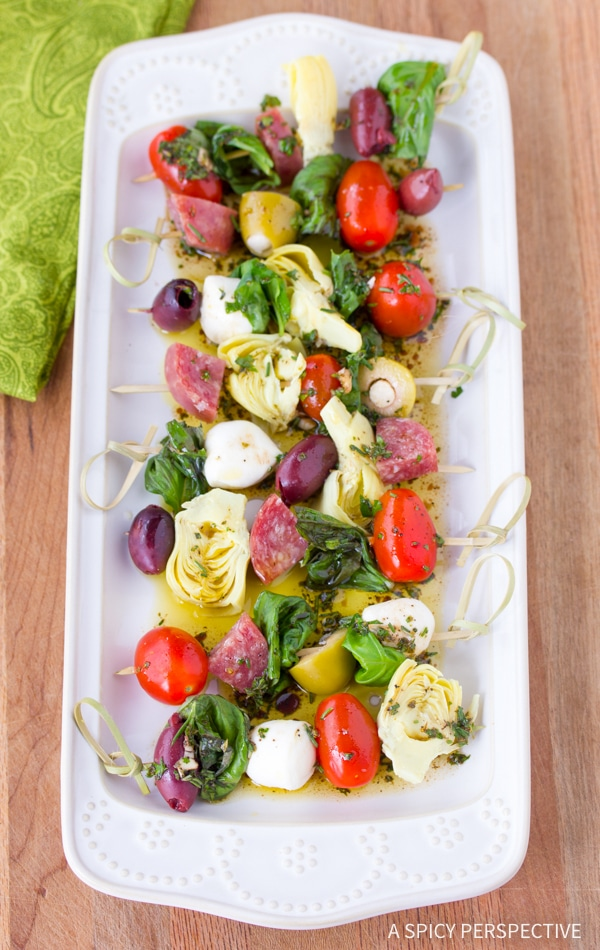Simple Antipasto Skewers with Herb Vinaigrette Recipe