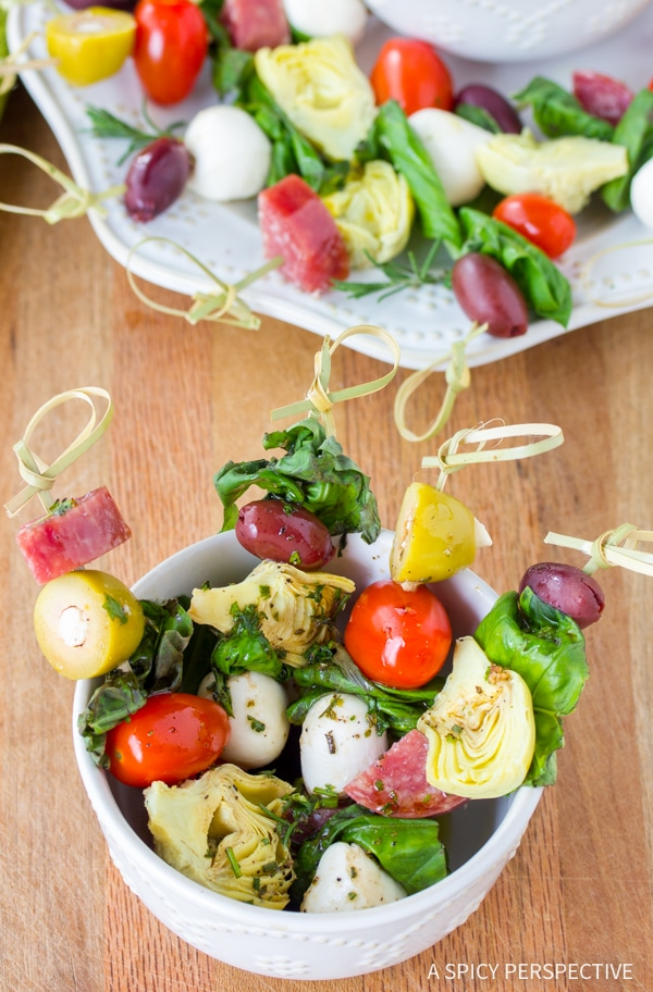 Make-Ahead Antipasto Skewers with Herb Vinaigrette Recipe