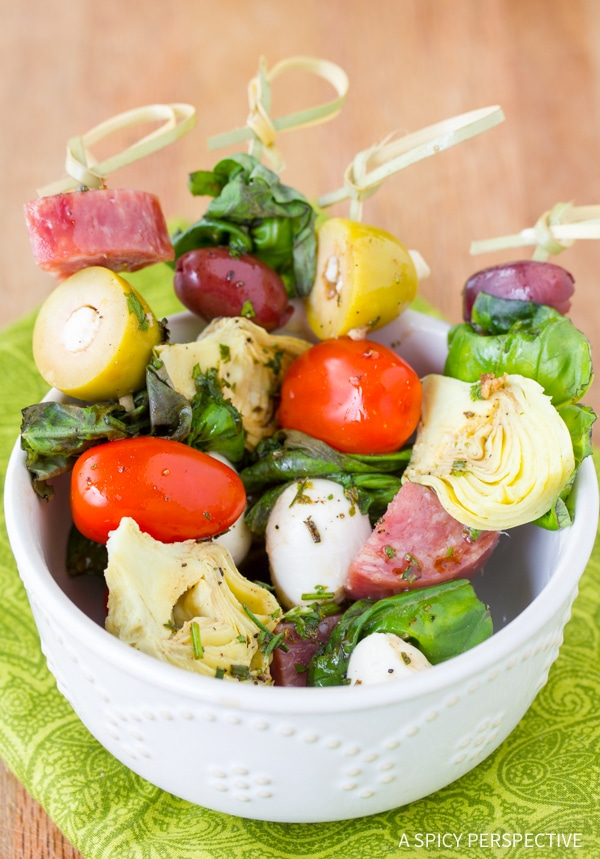 antipasto skewers with herb vinaigrette