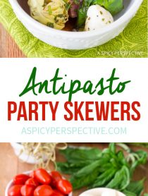 Easy Antipasto Skewers with Herb Vinaigrette