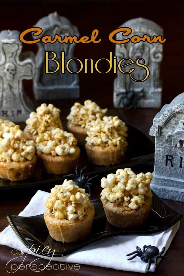 Carmel Corn Blondies Recipe | ASpicyPerspective.com #Halloween #Recipe