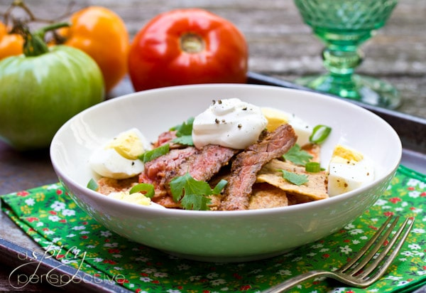 "... properly"" make her Chilaquiles Recipe with Marinated Skirt Steak"