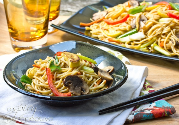 savory Vegetable Lo Mein Recipe with sumptuous Homemade Noodles ...