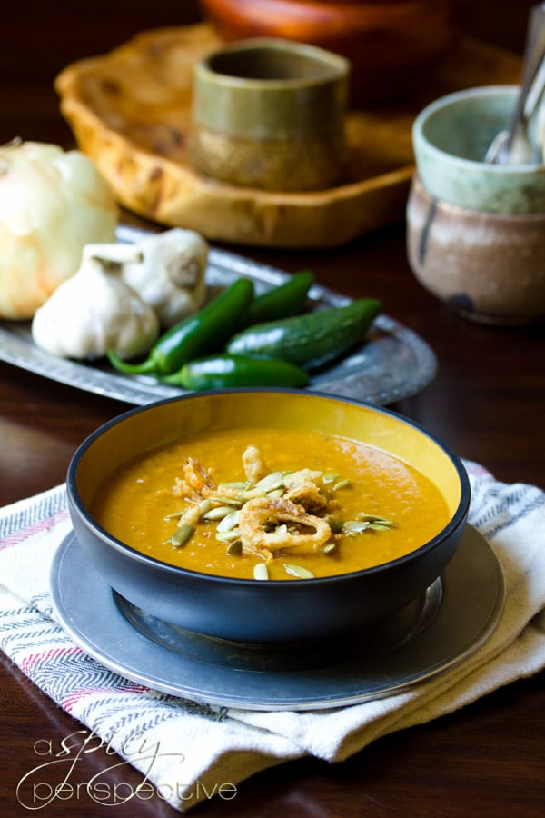 Vegan Pumpkin Soup Recipe | ASpicyPerspective.com #soup #pumpkin