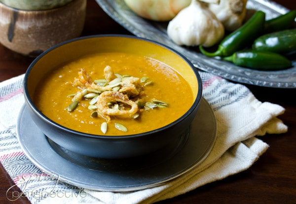 Spicy Pumpkin Soup Recipe | ASpicyPerspective.com #soup #pumpkin